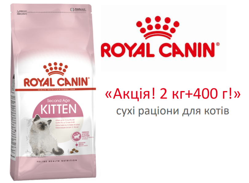Royal Canin Kitten - корм Роял Канин для котят в возрасте от 4 до 12 месяцев. Акция! 2 кг + 400 г в подарок!