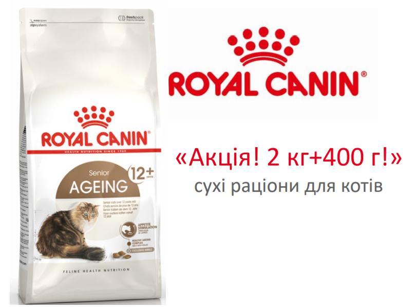 Royal Canin Ageing 12+ - корм Роял Канин для кошек старше 12 лет. Акция! 2 кг + 400 г в подарок!